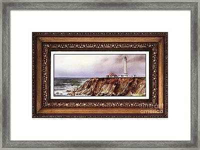 Lighthouse In Vintage Frame Framed Print