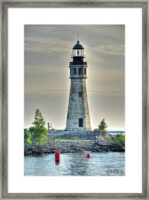 Lighthouse Just Before Sunset At Erie Basin Marina Framed Print by Michael Frank Jr