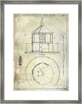 Lighthouse Lantern Order Blueprint Antique Framed Print by Jon Neidert