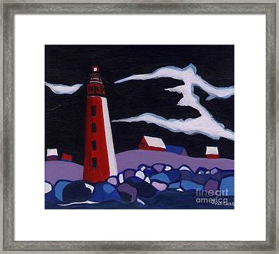 Framed Print featuring the painting Lighthouse Miniature by Joyce Gebauer