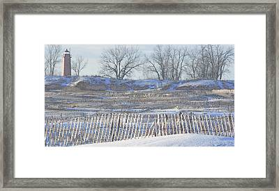 Lighthouse Of Lake Michigan At Muskegon Lake Harbor Channel Framed Print by Rosemarie E Seppala