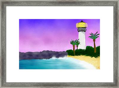 Lighthouse On Beach Framed Print