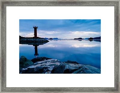 Lighthouse On Blue Framed Print