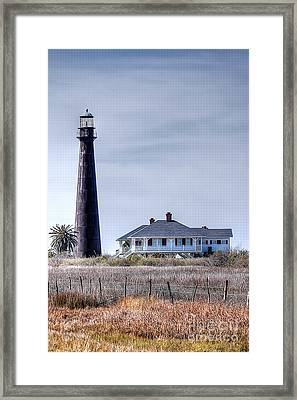 Lighthouse On Bolivar Peninsula Framed Print