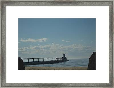 Lighthouse On Clear Day. Framed Print by Cim Paddock