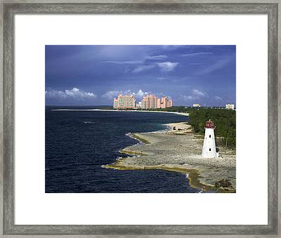 Lighthouse On Colonial Beach With Atlantis Paradise Resort Bahamas Framed Print