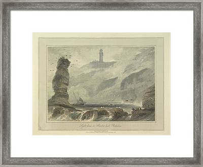 Lighthouse On Flambro-head Framed Print by British Library