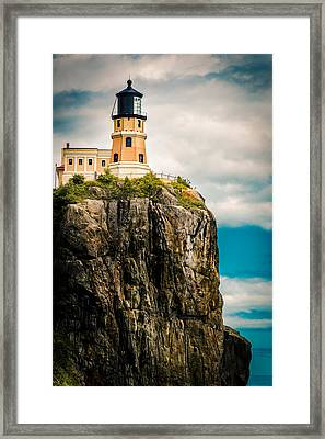 Framed Print featuring the photograph Lighthouse On Split Rock by Mark David Zahn Photography