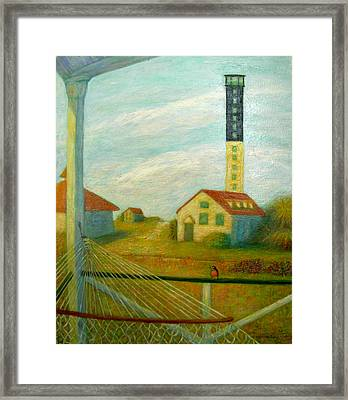 Framed Print featuring the painting Lighthouse On Sullivan's Island by Jeanne Kay Juhos
