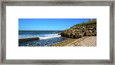 Lighthouse On The Beach, Montauk Point Framed Print