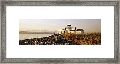 Lighthouse On The Beach, West Point Framed Print