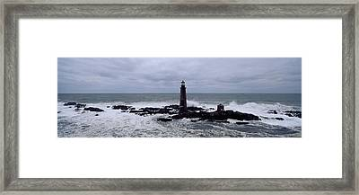 Lighthouse On The Coast, Graves Light Framed Print by Panoramic Images