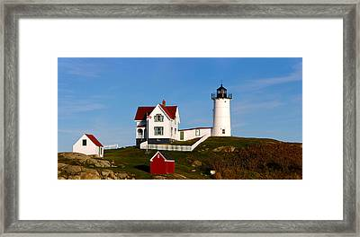 Lighthouse On The Hill, Cape Neddick Framed Print by Panoramic Images