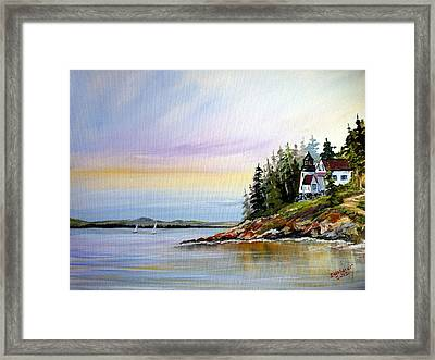 Framed Print featuring the painting Lighthouse On The Island by Dorothy Maier