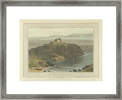 Lighthouse On The Isle Of Scalpa Framed Print by British Library