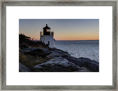 Lighthouse On The Rocks At Castle Hill Framed Print by Andrew Pacheco