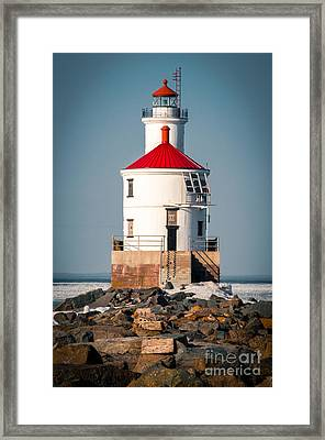 Framed Print featuring the photograph Lighthouse On The Rocks by Mark David Zahn Photography