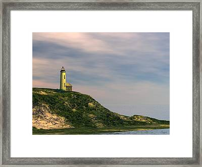 Framed Print featuring the digital art Lighthouse Point by John Pangia