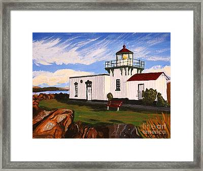 Lighthouse Point No Point Framed Print by Vicki Maheu