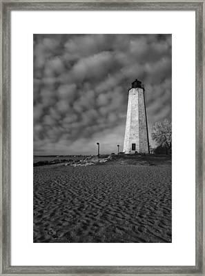 Lighthouse Point Park Bw Framed Print