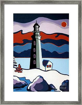 Framed Print featuring the painting Lighthouse Red Sky by Joyce Gebauer