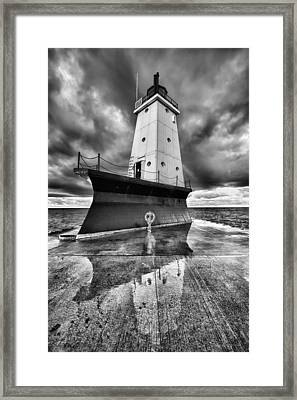 Lighthouse Reflection Black And White Framed Print by Sebastian Musial