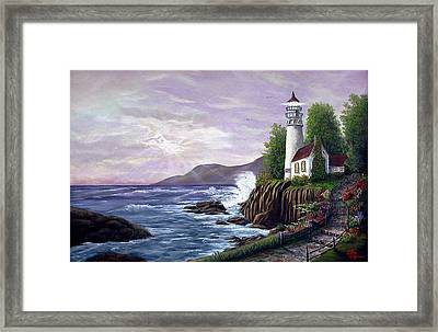 Framed Print featuring the painting Lighthouse Retreat by Rick Fitzsimons