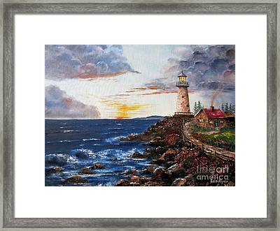 Lighthouse Road At Sunset Framed Print by Lee Piper