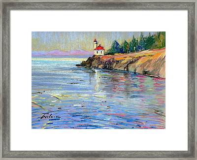 Lighthouse San Juan Island Framed Print by Ron Wilson