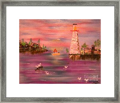 Framed Print featuring the painting Lighthouse Serenade by Denise Tomasura