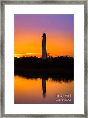 Lighthouse Silhouette Framed Print by Michael Ver Sprill