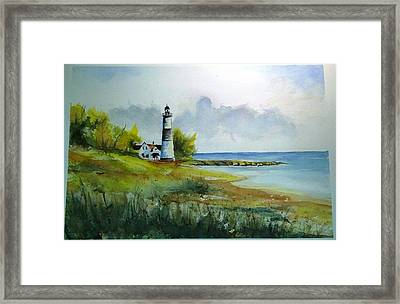 Framed Print featuring the painting Lighthouse Sold by Richard Benson