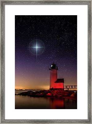 Framed Print featuring the photograph Lighthouse Star To Wish On by Jeff Folger