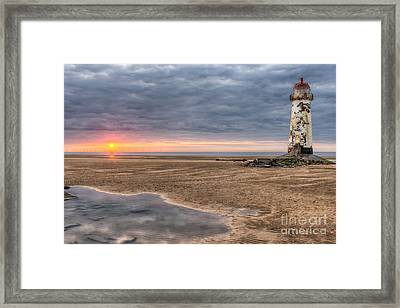 Lighthouse Sunset Framed Print by Adrian Evans