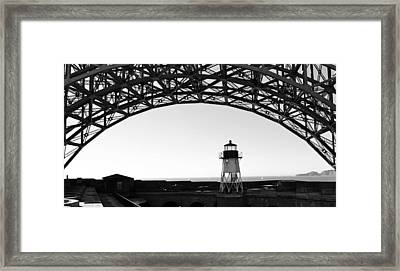 Lighthouse Under Golden Gate Framed Print by Holly Blunkall