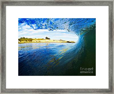 Framed Print featuring the photograph Lighthouse Wave 1 by Paul Topp