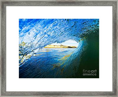 Framed Print featuring the photograph Lighthouse Wave 2 by Paul Topp