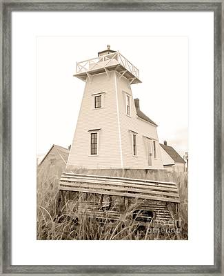 Lighthouse With Lobster Trap Pei Framed Print by Edward Fielding