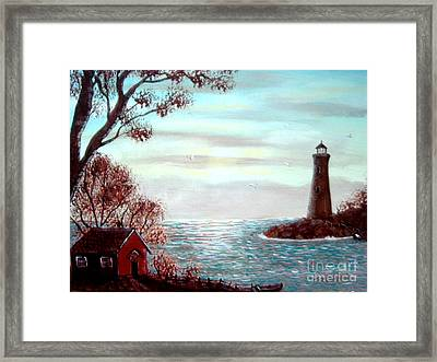 Lighthousekeepers Home Framed Print by Barbara Griffin
