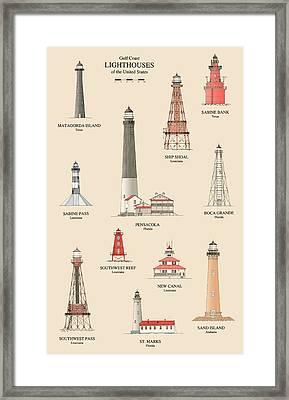 Lighthouses Of The Gulf Coast Framed Print