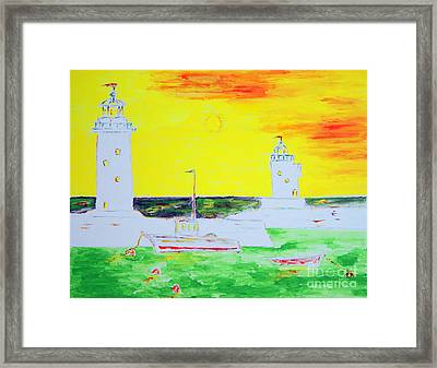 Framed Print featuring the painting Lighthouses True Trinity by Richard W Linford