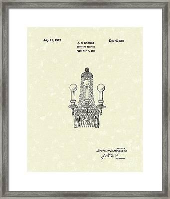Lighting Fixture 1925 Patent Art Framed Print by Prior Art Design