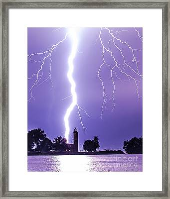 Lighting The Lighthouse Up Framed Print