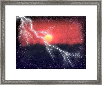 Lighting Up The Night Sky Framed Print by Roxy Hurtubise