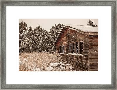 Framed Print featuring the photograph Snowing Softly by Shirley Heier