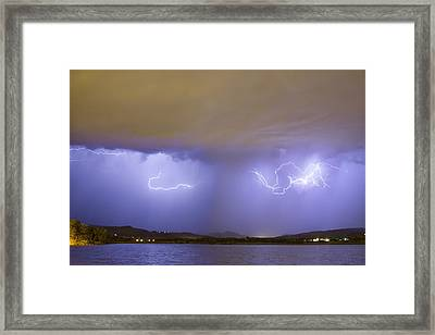 Lightning And Rain Over Rocky Mountain Foothills Framed Print by James BO  Insogna