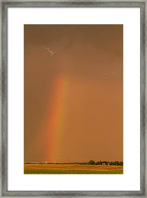 Framed Print featuring the photograph Lightning And Rainbow by Rob Graham