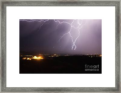 Lightning And The Douglas Mansion In Jerome Arizona Framed Print