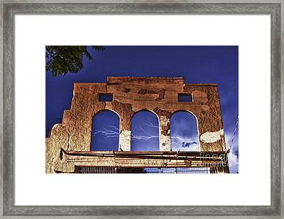 Framed Print featuring the photograph Lightning And The La Victoria Wall In Jerome Arizona by Ron Chilston