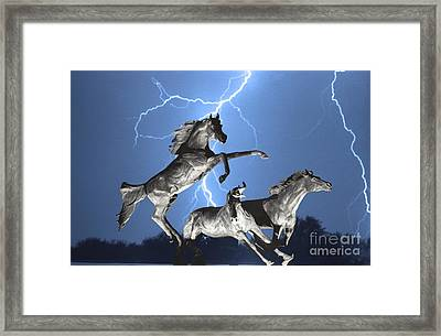 Lightning At Horse World Bw Color Print Framed Print
